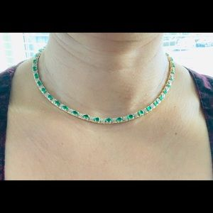 Jewelry - 14k solid gold emerald diamond tennis necklace